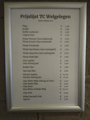 Nieuwe prijslijst van drankjes in de kantine